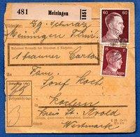 Colis Postal / De Meiningen / Pour Cocheren - Alsace-Lorraine