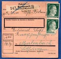 Colis Postal / De Bourdonnay  / Bortenach über Duss - Alsace-Lorraine
