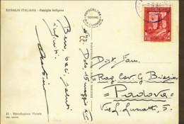 1936-Somalia Cartolina Foto Somalia Italiana Famiglia Indigena Affrancata 20c.Pittorica - Somalia