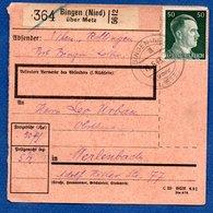 Colis Postal / De Bingen (Nied) über Metz - Alsace-Lorraine