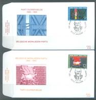 BELGIUM - 13.4.1985 - FDC - PARTI OUVRIER WERKLIEDEN PARTIJ  -  RODAN 749-750 BRUGGE - COB 2167-2168 -  Lot 19591 - FDC