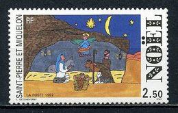 SPM MIQUELON 1992 N° 571 ** Neuf MNH Superbe C 1.50 €  Noël Christmas Dessins D' Enfants Crèche Animaux Ane - St.Pierre Et Miquelon