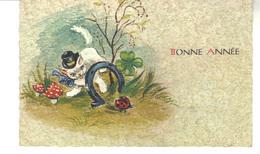 Petite Carte  Bonne  Année. Petit  Chat, Champignons , Fer A Cheval,  Trèfle A 4 Feuilles - New Year