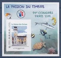 = Bloc FFAP Paris 2018 91ème Congrès Timbre La Maison Des Océans TVP LP Numéroté 09500 - FFAP