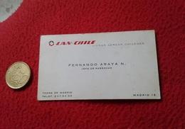 TARJETA DE VISITA CARD PUBLICIDAD PUBLICITARIA O SIMIL LINEAS AÉREAS CHILENAS LAN CHILE JEFE RESERVAS AIR LINES AIRLINES - Tarjetas De Visita