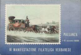1958- Cartolina Numerata III Manifestazione Filatelica Verbanese Affrancata L.15 Lourdes Ed Annullo Speciale Della Manif - Verbania