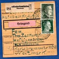 Colis Postal / De  NiederGemünden  / Pour Waldheim - Alsace-Lorraine