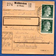 Colis Postal / De Weisskirchen / Pour Walheim - Alsace-Lorraine