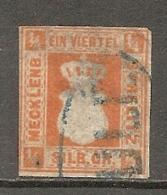 ME ST - Yv. N° 1  Mi. N° 1a , FAUX (o)    1/4 S  Rouge Orange  Cote  2000 Euro  BE  2 Scans - Mecklenburg-Strelitz