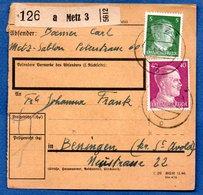 Colis Postal / De Metz 3 / Pour Bening ( Beningen) - Alsace-Lorraine