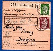 Colis Postal / De Strasbourg / Pour Cocheren ( Kochern) - Alsazia-Lorena