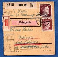 Colis Postal / De Wien / Pour Tedingen - Alsace-Lorraine