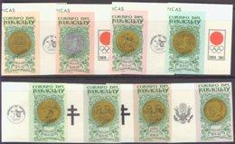 """1964-(MNH=**) Paraguay S.8v.non Dentellati """"Olimpiadi Di Tokyo""""con Soprastampa Saggio """"Muestra"""" - Summer 1964: Tokyo"""