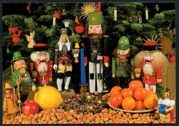 C5862 - TOP Glückwunschkarte Weihnachten - Erzgebirgische Volkskunst Nußknacker Räuchermann Lichterengel - Altri