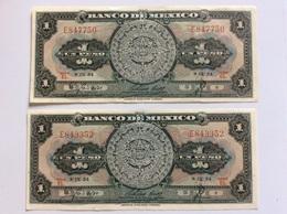MESSICO MEXICO 2 NOTES 1 PESO 8-IX-1954 AU - Mexico