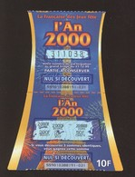Grattage FDJ - FRANCAISE DES JEUX - AN 2000 - 55901 - Code Barres à Gauche - Trait Rouge - Billets De Loterie
