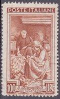 1950-(MNH=**) Italia L.100 Bruno Rosso Italia Al Lavoro,cat.Sassone Euro 100 - 6. 1946-.. Repubblica