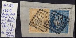 FRANCE  59 & 60A (o) Sur Fragment Période Classique : Type Cérès III ème République 1871-1873 (34) - 1871-1875 Ceres