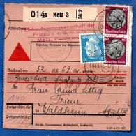 Colis Postal / De Metz 3  / Pour Waldheim - Spittel - Alsace-Lorraine