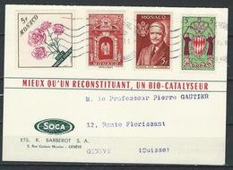 IZ-/-110--  CARTE POSTALE PUBLICITAIRE Pour LA SUISSE OBL.de 1960, TTB,  VOIR LES SCANS, AFFRANCHISSEMENT De 20 F - Mónaco