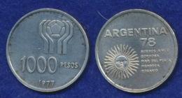 Argentinien 1000 Pesos 1977 Fußball-WM Ag900 10g - Argentina