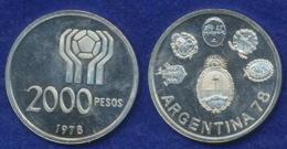 Argentinien 2000 Pesos 1978 Fußball-WM Ag900 15g - Argentina