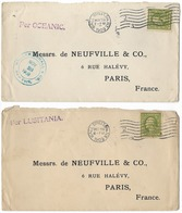 Lot De 2 Enveloppes Des Etats-Unis (l'une Avec Le Lusitania) - 1909 - Etats-Unis