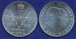 Norwegen 25 Kronen 1970 Jahrestag Ag875 29g - Norway