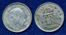 Großbritannien 6 Pence Georg VI. 1940 Ag500 2,8g - 1662-1816: Ende 17. Jh. - Anfang 19. Jh.