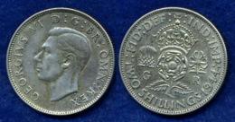 Großbritannien 2 Shilling 1944 Georg VI. Ag500 11,3g - J. 1 Florin / 2 Schillings