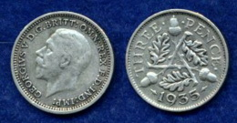 Großbritannien 3 Pence Georg V. 1935 Ag500 1,4g - 1902-1971: Postviktorianische Münzen