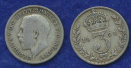 Großbritannien 3 Pence Georg V. 1921 Ag500 1,4g - 1902-1971: Postviktorianische Münzen