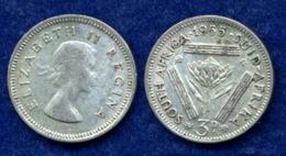 Südafrika 3 Pence 1955 Elisabeth II. Ag500 1,4g - Südafrika