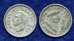 Südafrika 3 Pence 1951 Georg VI. Ag500 1,4g - Südafrika