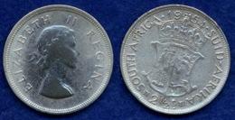 Südafrika 2 1/2 Shilling 1954 Elisabeth II. Ag500 14,1g - South Africa