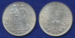 Slowakei 20 Kr. 1941 Kyrillos/Methodius Ag500 15g - Slovakia