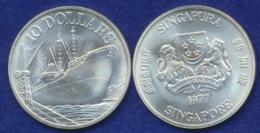 Singapur 10 Dollars 1977 Dampfer Ag500 31.1g - Singapore
