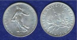 Frankreich 1 Franc 1916 Ag835 5g - H. 1 Franc