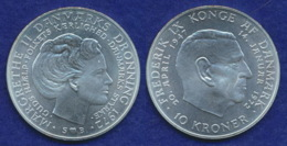 Dänemark 10 Kronen 1972 Margrethe/Frederik Ag800 20,4g - Dänemark