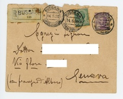 RACCOMANDATA PORTO 55 CENTESIMI DA BUSSANA A GENOVA – 14/05/1920 (15/02) - Marcophilie