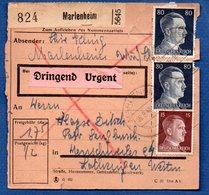 Colis Postal / De  Marlenheim / Pour Herrschweiler / Coupures , Mauvais état - Alsace-Lorraine