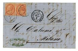 VITTORIO EMANUELE II – LETTERA DA BRESCIA A MILANO-2 10 CENTESIMI ARANCIO  (15/08) - 1861-78 Vittorio Emanuele II