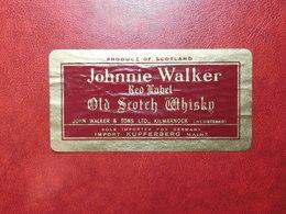 Johnnie Walker - Red Label - Produce Of Scotland - Vintage Old Whisky Label Etiquette Etichetta - Whisky