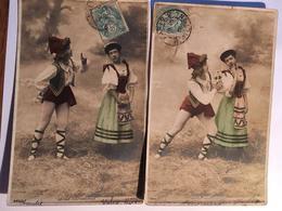 2 CPA , Série Idylle Napolitaine, '256/1 Et 256/3, écrites En 1906, Timbres, édition A.N Paris - Fancy Cards