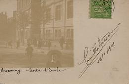 42) CARTE-PHOTO ANNONAY : Sortie D'école (1901) - Annonay
