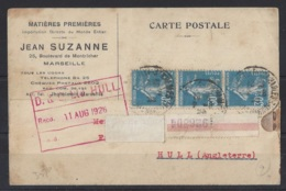"""1921-1960.....FRANCE.. """" 1926 """"  ..CARTE POSTALE TO HULL, WITH 3 X 30c  STAMPS. - Marcophilie (Lettres)"""