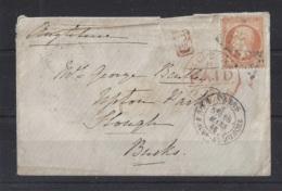 "1849-1876....FRANCE.. "" 1865 ""  ...40c..PALE ORANGE ON ENVERLOPE WITH LONDON CODE "" H PAID HS "" - Marcophilie (Lettres)"