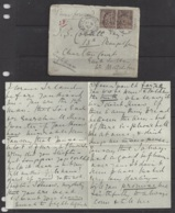 """1877-1920...FRANCE.. """" 1898 """"  .25c  PAIR...ENVERLOPE AND LETTER...POSTAL HISTORY... - Postmark Collection (Covers)"""