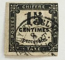 Timbre France Taxe YT 3 (°) 1863-70 15c Noir I Typographié Pas D'aminci (côte 15 Euros) – 404c - Postage Due