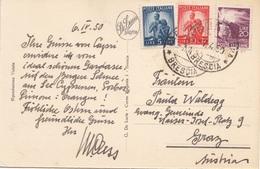 ITALIEN 1950 - 3 Fach MIF Auf Ak LAGO DI GARDA - Philatelistische Karten